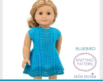 Bluebird Dress for 18 inch Dolls, Knitting Pattern, Clothes for American Girl Doll, for MSD BJD  Saffi Doll by Meadowdolls, Lace Pattern