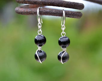 Obsidian earrings, Obsidian drop earrings, French hook obsidian earrings, Silver earrings with obsidian, Obsidian tiny drop earrings.