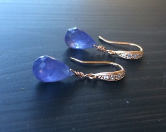 Purple blue Tanzanite Earrings. Periwinkle dangle earrings. Natural Tanzanite.  Pave jewelry. Gold silver or rose gold