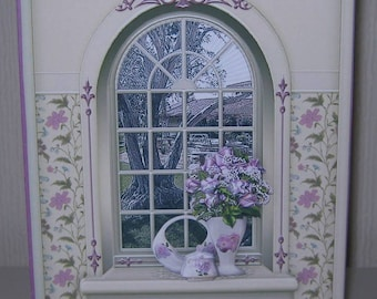 3d Decoupage Arched Window Birthday Card Lilac Roses Arched Window Landscape