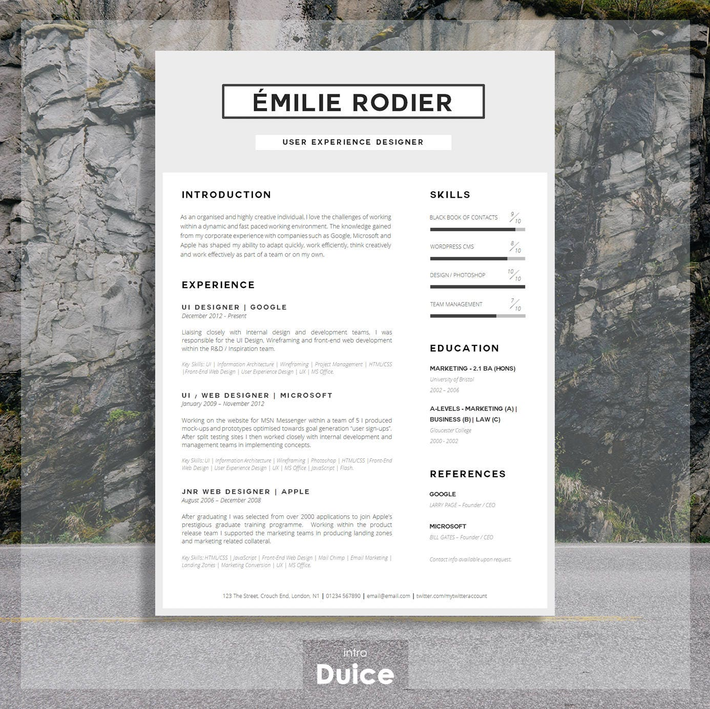 CV Template Lebenslauf Printable CV Template Cover