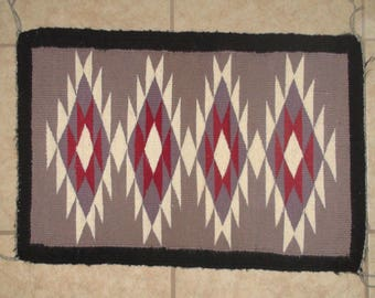 Native American Navajo Hand Woven Wool Rug 24 X 16 Inches Authentic