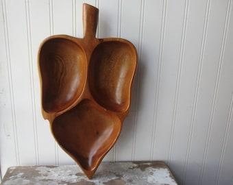 Mid century wooden leaf tray bowl handled snack dish 3 section Monkey pod ? Boho decor