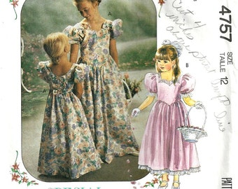 McCall's Pattern 4757 Girls Bridesmaid, Flower Girl Dress  Size 12 1990's Princess Costume