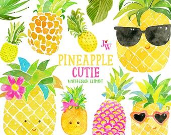 Pineapple Cutie Watercolor Clipart - Watercolor Clip Art - Pineapple Clipart -  Summer Clip Art - Clipart - Watercolor - Fruit - Pineapples
