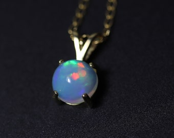 BLUE and RAINBOW fire opal pendant necklace, genuine fire opal, silver opal necklace, solid natural opal pendant, fire opal pendant, opal