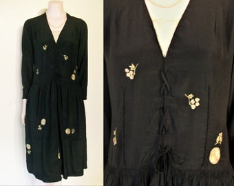 """Enchanting 1920s drop waist day dress w/embroidery, lacing detail bust 34"""" - 36"""""""
