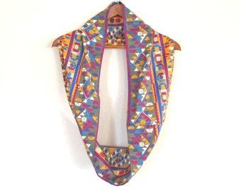 Southwest Circle Scarf Eco Friendly Vintage Cotton Fabric Cowl Infinity Neck Wrap Purple Yellow Blue