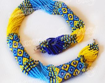 Patriotic Ukrainian ethno-Gerdan necklace yellow and blue beads.