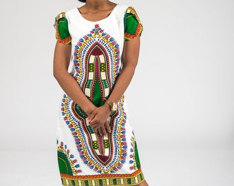 African Dashik with crepe fabric Dress