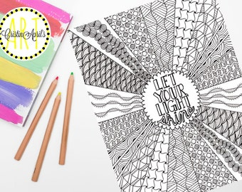 Printable Adult Coloring Book Page Let Your Light Shine Saying Zentangle Inspired
