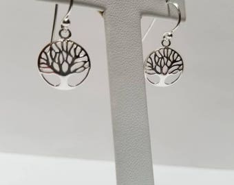 Small Tree of Life Sterling Silver Dangle Earrings.