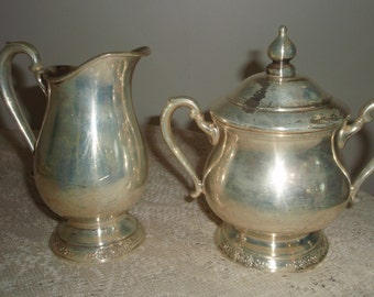 Vintage sugar bowl and creamer, Silver plated creamer and sugar bowl with lid, International silver creamer and sugar bowl,
