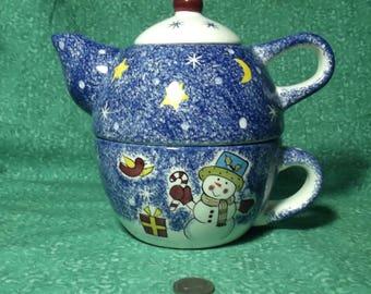 Charming Tea Pot Set - Stackable - Snowman / Christmas Pattern / Theme
