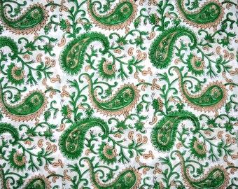 1 Yard-Indian Hand Block Printed 100% Cotton Paisley Printed Fabric