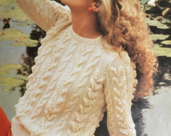 Vintage knitting pattern cluster bobble cable sweater pdf INSTANT download pattern only