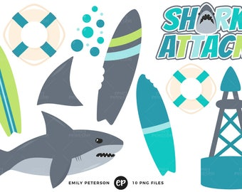 50% OFF SALE! Shark Attack Clip Art, Shark Fin Clipart, Ocean Clip Art - Commercial Use, Instant Download