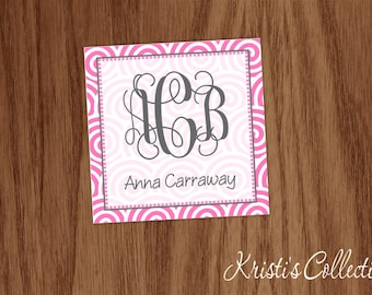 Gift Tags Stickers, Personalized Calling Cards, Personal Monogrammed Gift Inserts Enclosure Cards,  Lollipop Swirls, Girls Birthday Tags