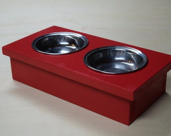 Cat Bowl Feeding Station With Bowls; Raised Cat Bowl Holder; Small Dog Feeding Station; Rustic Red Cat Feeder