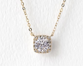 Gold Bridal Jewelry Cushion Cut Necklace Wedding Jewelry Gold Pendant Necklace Bridal Jewelry Wedding Accessories Crystal Neckalce N521-G