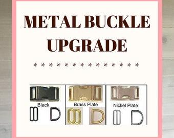 Brass, Nickel or Black Metal Buckle Upgrade for Dog Collar