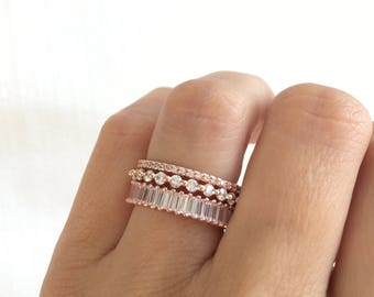 Rose Gold Wedding Band Set. Luxury Rose Gold Eternity Ring Set. Baguette Ring. Stackable Rings. Rose Gold Stacking Rings. Set Of Three Rings