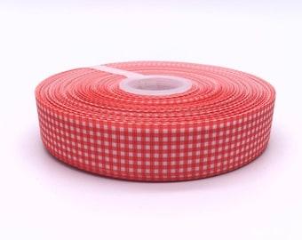 """Red Gingham Check Plaid 1"""" 25mm Grosgrain Ribbon per  Meter"""