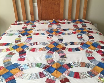 Double Wedding Ring Quilt Top!  Ready to be quilted!