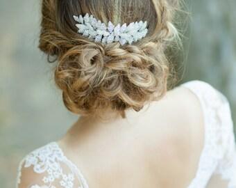 Silver bridal hair comb Silver wedding headpiece Wedding hair comb Leaves hair comb Crystal leaf hair comb Silver hair accessory
