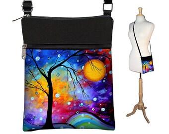MadArt Small Crossbody Hipster Bag in Winter Sparkle, Cross Body Shoulder Bag,  eReader Case Cover, blue yellow aqua purple RTS