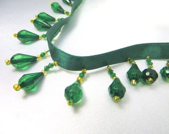 Forest Green and Gold Short Beaded Fringe Trim for Costum, Lamp or Beaded Decorator Trim