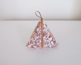 Coral Floral Triangle Coin Purse