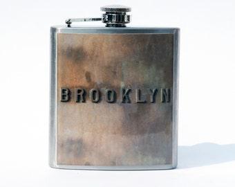 Hip Flask- Cool Groomsmen Gift- Anniversary Gift- Brooklyn- Whiskey Flask - New York Photo- Brooklyn Bridge- New York City- Fathers Day Gift