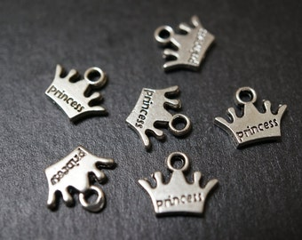 Antique Silver Princess Crown Charms - 10pcs