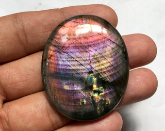 Big 49*40*8mm AAA++ Quality Very Rare Purple Labradorite Cabochon, Natural Oval shape Full Purple Flashy Labradorite Gemstone, Weight 137Cts