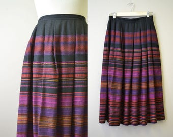 1970s John Meyer Striped Pleated Skirt