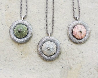 Sea Urchin Necklace - Pastel Colors - Pick your Color Grey, Pink, Green