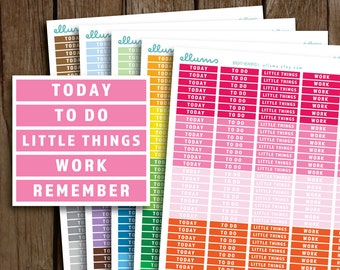 Bright Daily Headers Planner Stickers | PRINTABLE Instant Download | Weekly Header Planner Stickers | fits Erin Condren or Happy Planner