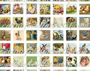 Vintage Easter Images in 1 inch squares Digital Collage Sheet C-163 for Scrabble Tiles, Glass Tiles, Glass Soldering, Embellishments