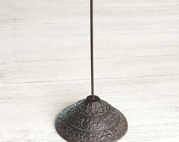 Antique Office Spindle Ornate Base Large Vintage Paper Spike Industrial Office Supply