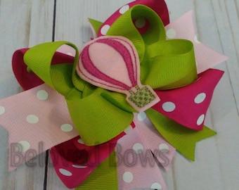 Hot Air Balloon Layered Hair Bow, Balloon Hair Bow, Layered Hair Bow, Pink and Green Layered Hair Bow, Birthday Hair Bow