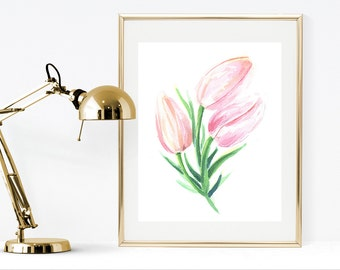 Printable watercolor pink flower, printable tulip, instant download watercolor flower, pink flower wall art, printable watercolor painting