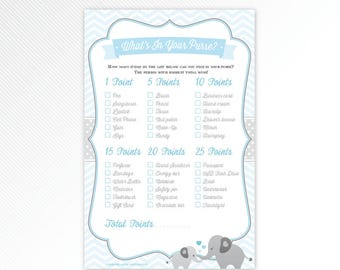 Blue elephant what's in your purse, baby shower game printable - INSTANT DOWNLOAD