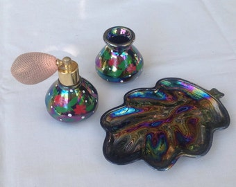 Perfume atomiser set in colourful lustre