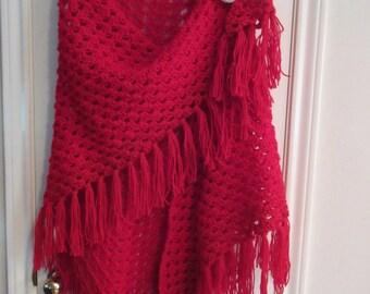 Crochet Shawl: Red Crochet Granny Shawl