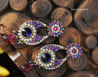 CZ pink and navy blue with pink drop earrings
