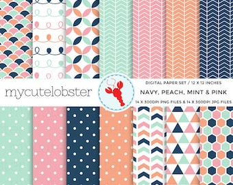 Navy, Peach, Mint & Pink Digital Paper Set - patterned paper, scrapbook paper, polka - personal use, small commercial use, instant download