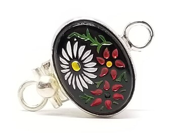 Vintage Japanese Glass Daisy Sterling Silver Box Clasp