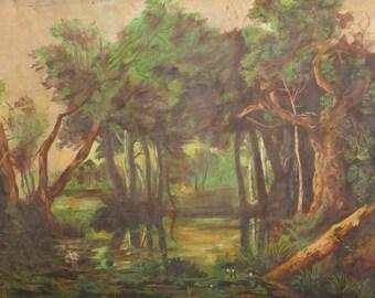 Antique oil painting forest trees landscape