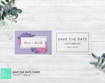 Printed Save the Date Cards   Spring Floral Wedding Stationery   Hydrangea Posy